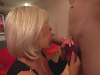 busty milf sucks and swallows a stranger while husband watch