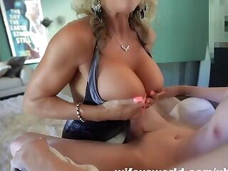 Busty cougar can`t believe how big his cock is
