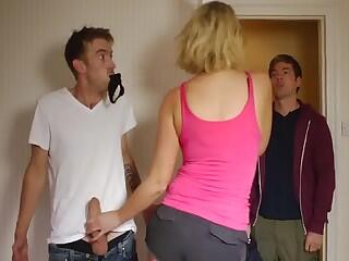She sucks his big cock behind her son